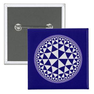 Navy Blue & White Triangle Filled Mandala Pinback Button