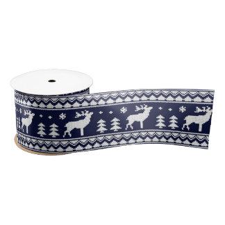 Navy Blue White Ugly Christmas Sweater Pattern Satin Ribbon