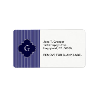 Navy Blue White Uneven Stripes Navy Monogram Label Address Label