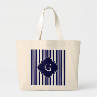 Navy Blue White Uneven Stripes Navy Monogram Label Tote Bags