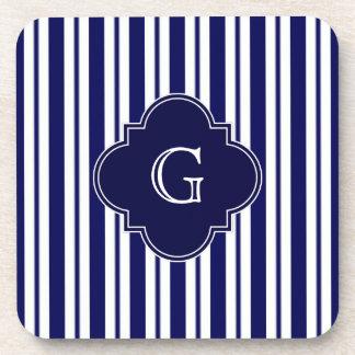 Navy Blue White Uneven Stripes Navy Monogram Label Coaster