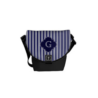 Navy Blue White Uneven Stripes Navy Monogram Label Messenger Bags