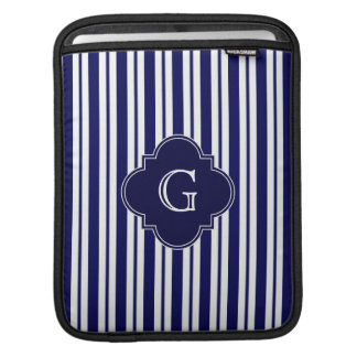 Navy Blue White Uneven Stripes Navy Monogram Label Sleeve For iPads
