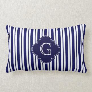 Navy Blue White Uneven Stripes Navy Monogram Label Throw Pillows
