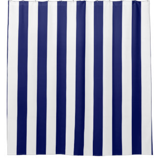 Navy Blue White Vertical Stripe NL #1 Shower Curtain