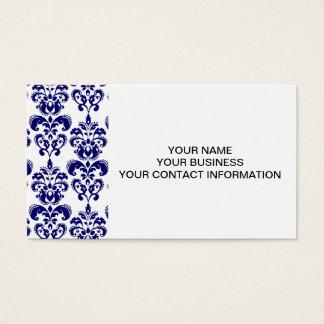 Navy Blue, White Vintage Damask Pattern 2 Business Card
