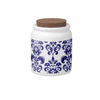 Navy Blue, White Vintage Damask Pattern 2 Candy Dishes