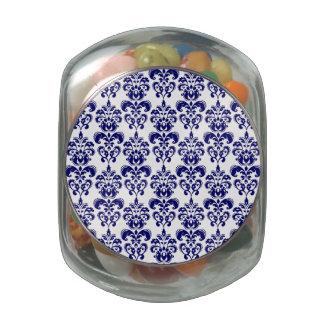 Navy Blue, White Vintage Damask Pattern 2 Jelly Belly Candy Jar