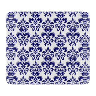 Navy Blue, White Vintage Damask Pattern 2 Cutting Board