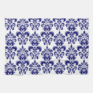 Navy Blue, White Vintage Damask Pattern 2 Hand Towels