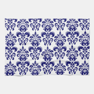 Navy Blue, White Vintage Damask Pattern 2 Kitchen Towel