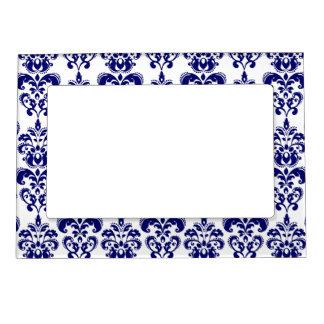 Navy Blue, White Vintage Damask Pattern 2 Magnetic Frame