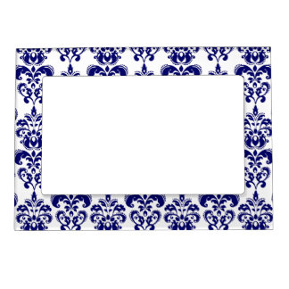 Navy Blue, White Vintage Damask Pattern 2 Magnetic Picture Frames