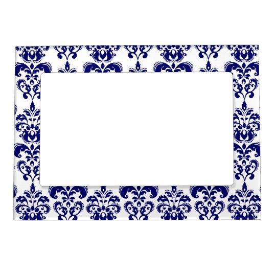navy blue white vintage damask pattern 2 magnetic picture frame. Black Bedroom Furniture Sets. Home Design Ideas