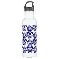 Navy Blue, White Vintage Damask Pattern 2 Stainless Steel Water Bottle
