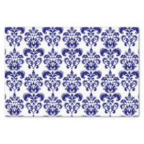 Navy Blue, White Vintage Damask Pattern 2 Tissue Paper