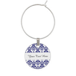 Navy Blue, White Vintage Damask Pattern 2 Wine Glass Charm