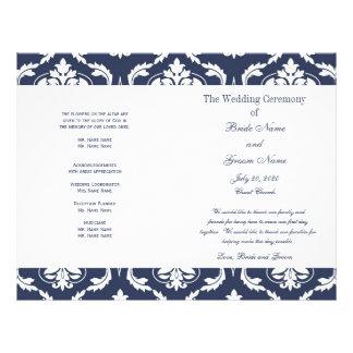 Navy Blue White Vintage Damask Wedding Program