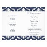 Navy Blue White Vintage Damask Wedding Program Flyer