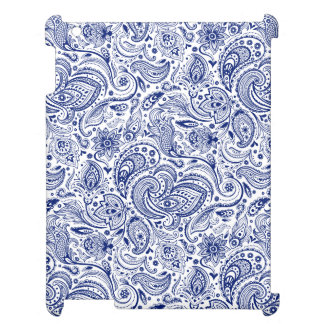 Navy Blue & White Vintage Floral Paisley Pattern 2 iPad Case