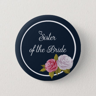 Navy Blue White Vintage Floral Sister of Bride Button