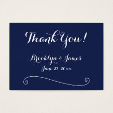 Navy Blue White Wedding Favor Tags Business Cards at Zazzle