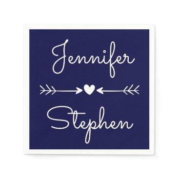 merrybrides Navy Blue & White  Wedding Heart & Love Arrows Napkin