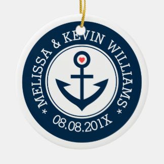 Navy-Blue & White Wedding Nautical Boat Anchor Ceramic Ornament
