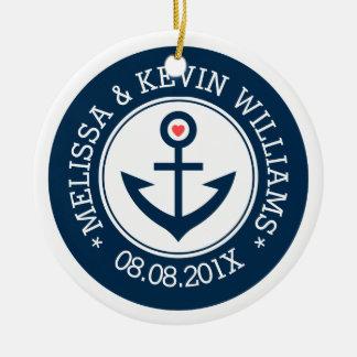 Navy-Blue & White Wedding Nautical Boat Anchor Ceramic Ornament