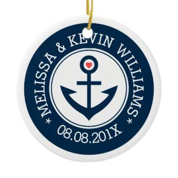 Valentines Themed Navy-Blue & White Wedding Nautical Boat Anchor Ceramic Ornament