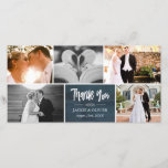 """Navy Blue &amp; White Wedding Photo Collage Thank You<br><div class=""""desc"""">Thank you photo card designed like a photo collage where you can add five photos from your wedding. Thank you is written in a charming brush script against a navy blue background. Personalize with your names and wedding date. A lovely wedding thank you card!</div>"""
