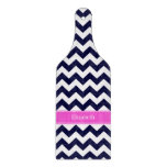 Navy Blue Wht Chevron Hot Pink Name Monogram Cutting Board