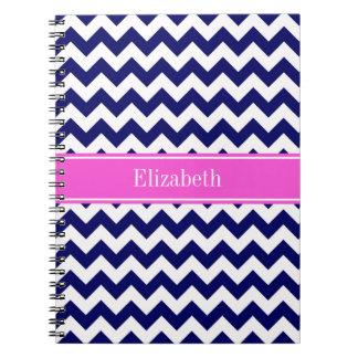 Navy Blue Wht Chevron Hot Pink Name Monogram Note Books