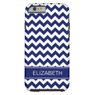 Navy Blue Wht Chevron Zigzag 7P Navy Name Monogram Tough iPhone 6 Case