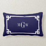 "Navy Blue Wht Greek Key #2 Framed 3 Ini Monogram Lumbar Pillow<br><div class=""desc"">Navy Blue and White Greek Key #2 Framed 3 Initial Monogram A stylish solid background with a white Greek Key frame area for your 3 initial monogram, name or other text. You can also change the text font, change the font size and color, move the text to adjust the monogram...</div>"