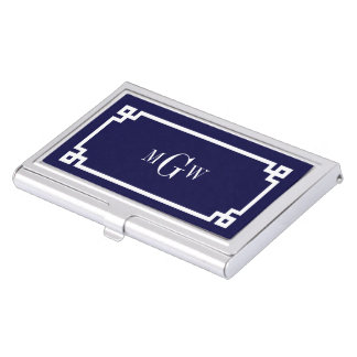 Navy Blue Wht Greek Key #2 Framed 3 Init Monogram Business Card Case
