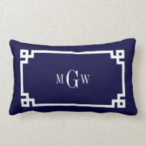 Navy Blue Wht Greek Key #2 Framed 3 Init Monogram Lumbar Pillow