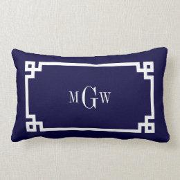Navy Blue Wht Greek Key #2 Framed 3 Init Monogram Lumbar Pillow
