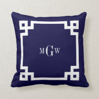 Navy Blue Wht Greek Key #2 Framed 3 Init Monogram Throw Pillows