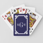 "Navy Blue Wht Greek Key #2 Framed 3 Init Monogram Playing Cards<br><div class=""desc"">Navy Blue and White Greek Key #2 Framed 3 Initial Monogram A stylish solid background with a white Greek Key frame area for your 3 initial monogram, name or other text. You can also change the text font, change the font size and color, move the text to adjust the monogram...</div>"