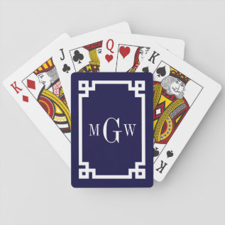 Navy Blue Wht Greek Key #2 Framed 3 Init Monogram Playing Cards at Zazzle