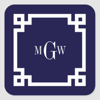 Navy Blue Wht Greek Key #2 Framed 3 Init Monogram Square Sticker