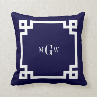 Navy Blue Wht Greek Key #2 Framed 3 Init Monogram Throw Pillow