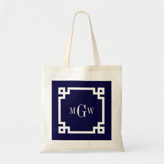 Navy Blue Wht Greek Key #2 Framed 3 Init Monogram Tote Bag