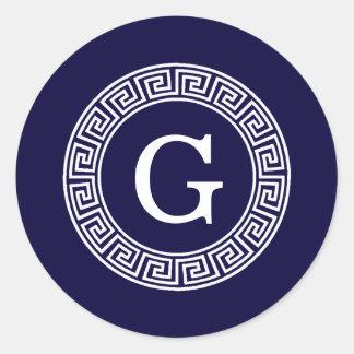 Navy Blue Wht Greek Key Rnd Frame Initial Monogram Classic Round Sticker