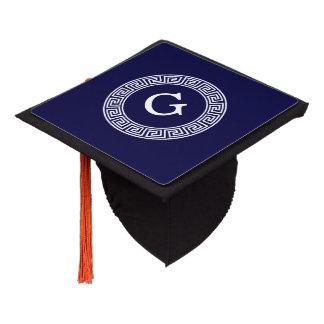 Navy Blue Wht Greek Key Rnd Frame Initial Monogram Graduation Cap Topper