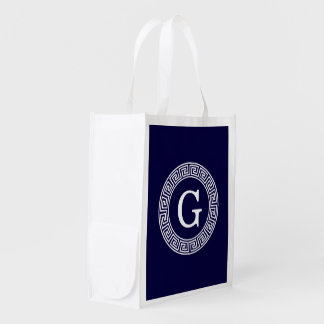 Navy Blue Wht Greek Key Rnd Frame Initial Monogram Grocery Bag
