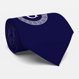 Navy Blue Wht Greek Key Rnd Frame Initial Monogram Neck Tie