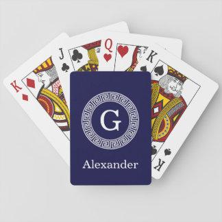 Navy Blue Wht Greek Key Rnd Frame Initial Monogram Playing Cards