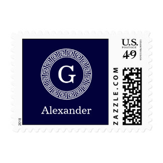 Navy Blue Wht Greek Key Rnd Frame Initial Monogram Postage